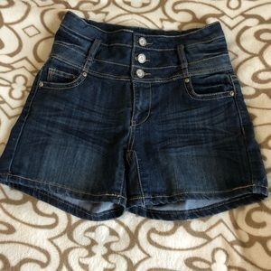 1st Kiss high waisted jean shorts
